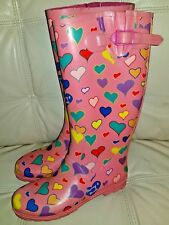Dooney and Bourke Women's Size 8 Rain Boots  Pink Hearts Rare & Classic!