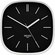 Silent Sweep Square Wall Clock Moontick, Minimalist Marker Dial Case Black White
