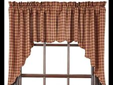 PRETTY COUNTRY CURTAINS MINI CHECK SWAG VALANCE RED&TAN