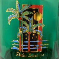 Vintage Palm Springs Green Glass Resort Souvenir Coffee Tea Cup Mug Made In USA