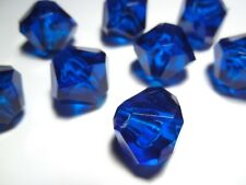 10pc 18mm High Quality Large Hole Acrylic Faceted Bicone Beads - Sapphire Blue