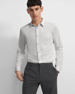 New THEORY Men Pale Grey Slim Stretch Cotton Button Front Dress Shirt Sz  L $195