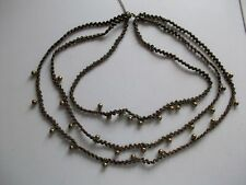 "BROWN & GOLD FINISH 3 STRAND CHAIN NECKLACE 23"" **GC**"