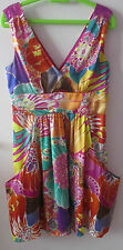 """BEAUTIFUL COLOUFUL SILKY DRESS, SIZE 12, BY """"NEXT, LINED, SEQUIN DETAIL"""
