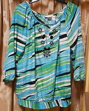 Turquoise striped blouse 1 L