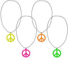 Peacekette Hippie Halskette Peace Karneval Hippiekette Friedenszeichen Neon