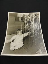Vintage Christmas Tree Child Baby Tinsel Decorating Bulb Photo Holiday Picture