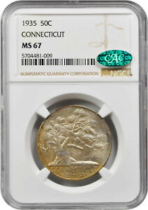 1935 Connecticut Commemorative Half MS-67 NGC/CAC Certified - Color!