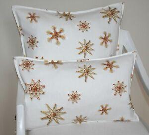 Proflax Kissen Kissenhülle Maike 30x50 60x60 Stroh Sterne Weihnachten Zierkissen