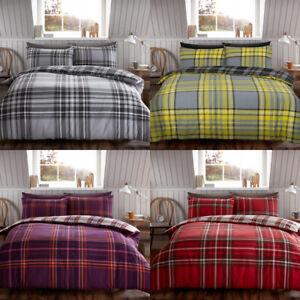 Brushed Cotton Flannelette/Flannel Charter Stripe Quilt Duvet Cover Double King