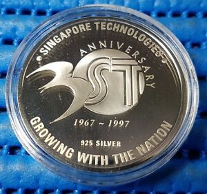 1997 Singapore Technologies 30th Anniversary Silver Proof Medallion (1967-1997)