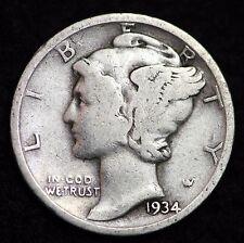 1934-P MERCURY DIME / CIRCULATED GRADE GOOD / VERY GOOD 90% SILVER COIN