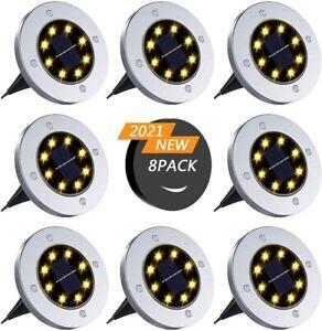 8er Set 8 LEDs Bodenstrahler Solar Lampe Bodeneinbauleuchte Garten Leuchte Rund