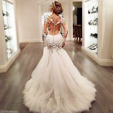 White Ivory Lace Mermaid Wedding dress Bridal Gown Custom Size 10-12-14-16-18+++
