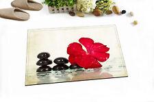 Vintage Spa Black Stones Red Flower Kitchen Bathroom Bath Door Floor Mat Bathmat