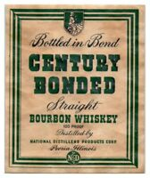 Century Bonded Straight Bourbon Whiskey Bottle Label