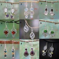 Women Chic Rainbow Moonstone & Peridot & Amethyst & Turquoise Pendant Earrings