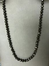 "Black Onyx Sterling Silver Necklace 19""  Faceted beads estate gems 925 new"
