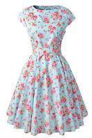 Cap Sleeve Cotton Vintage Prom Dresses Floral Print Rockabilly 1950s Retro Dress