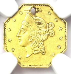 1853 Liberty California Gold Dollar G$1 Coin BG-530 - NGC AU Details (Holed)