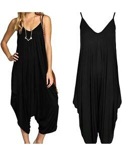 New Ladies Cami Lagenlook Romper Baggy Harem Jumpsuit Playsuit Dress