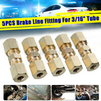 """5x 3/16"""" Brass Car Brake Pipe Fitting Connector Tube Tubing Joiner Lines 33x10mm"""