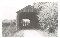 D78/ Cloverdale Indiana In Real Photo RPPC Postcard Covered Bridge c1950s