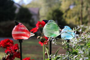 Glass Bird Garden Stakes -  Blue, Green, or set of Blue, Green, & Red