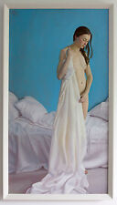 Original Framed Oil Painting Female Nude Girl bedroom white sheets artwork