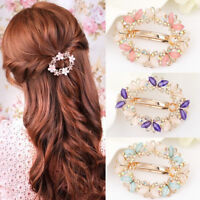 Women Girls Crystal Rhinestone Flower Barrette Hair Clip Clamp Hairpin Pretty