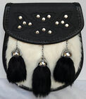 Scottish Kilt Semi Dress Sporran With White Rabbit Fur
