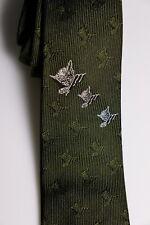 Vintage Chessie C&O Railroad Necktie Olive Green Silk Chesapeake & Ohio Tie