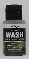 Vallejo #76520 Acrylic Model Wash Colours Dark Khaki Green 35ml Bottle