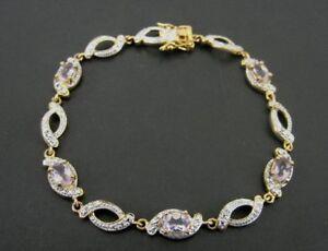 Amethyst Stones Purple Gold Vermeil over 925 Sterling Silver Link BRACELET