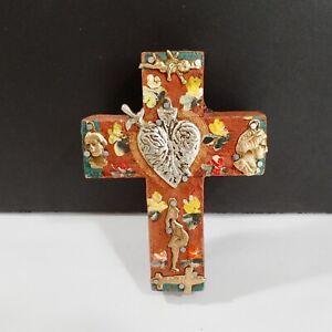 Sacred Heart Mexican Tin Milagros Cross Wood Wall Hanging Folk Art Ornament