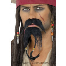 W290 Pirate Beard And Moustache Facial Hair Set Jack Sparrow Costume Accessory