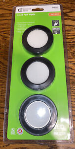 NEW Black Commercial Electric 3-LED Puck Lights Soft White 848665 NEW