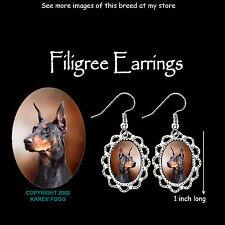 DOBERMAN PINSCHER Black Crop Ear Dobie - SILVER FILIGREE EARRINGS Jewelry