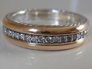 $3150 DAVID YURMAN 18K ROSE GOLD, SS MENS STREAMLINE DIAMOND RING