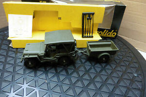 1970`s VINTAGE 1/43 SOLIDO MILITARY WILLYS JEEP & TRAILER DIE CAST No256