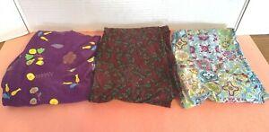 LuLaRoe OS Leggings One Size Lot 3 Floral Purple Butterflies