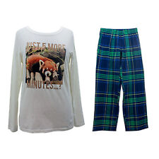 Ladies Womens Animal Print PJs Pyjamas Set Long Bottoms Size 8 10 12 14 16 18 20