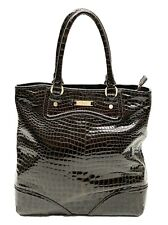 COLE HAAN Brown Patent Leather Moc Croc Shopper Tote Bucket Bag