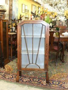 English Antique Oak Art Deco Small Display Cabinet