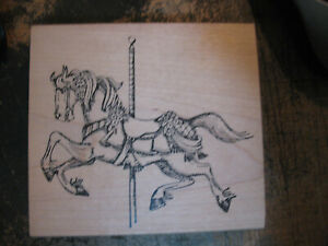 Art Impressions Wood Mount Rubber Stamp Carousel Horse