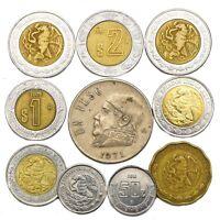 10 COINS FROM MEXICO. OLD COLLECTIBLE MEXICAN COINS CENTAVOS, PESOS