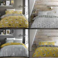 Fusion Animal Print Reversible Duvet Quilt Cover Set Dogs Birds Grey Ochre Multi