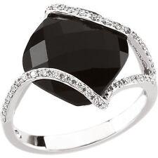 Genuine Black Onyx 12 mm Cushion Cut Gem &  1/5 ctw Diamonds Ring 14K White Gold