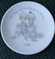 Enesco Precious Moments Mini Plate 1988 The Good Lord Has Blessed Us Tenfold