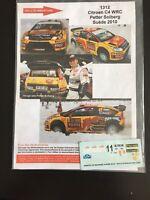 DECALS 1/43 CITROEN C4 WRC PETTER SOLBERG RALLYE SUEDE 2010 SWEDISH RALLY